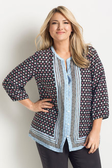 Plus Size - Sara Printed Viscose Shirt - 168933