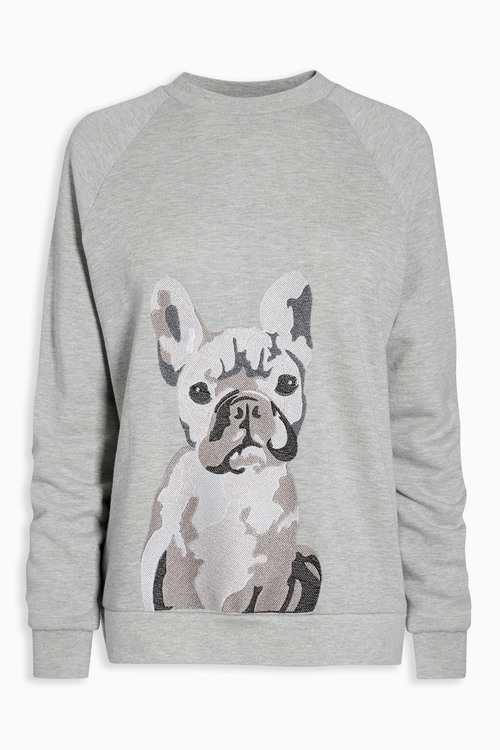 Next Grey Embroidered Dog Sweater