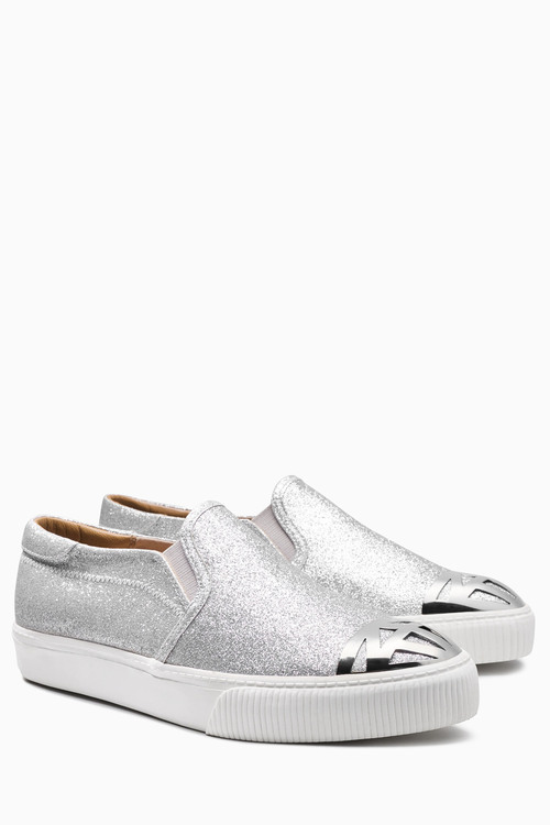 Next Shimmer Slip-On Toe Cap Detail Skaters