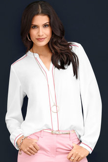 Capture European Contrast Binding Blouse