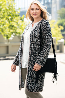 Plus Size - Sara Animal Coatigan
