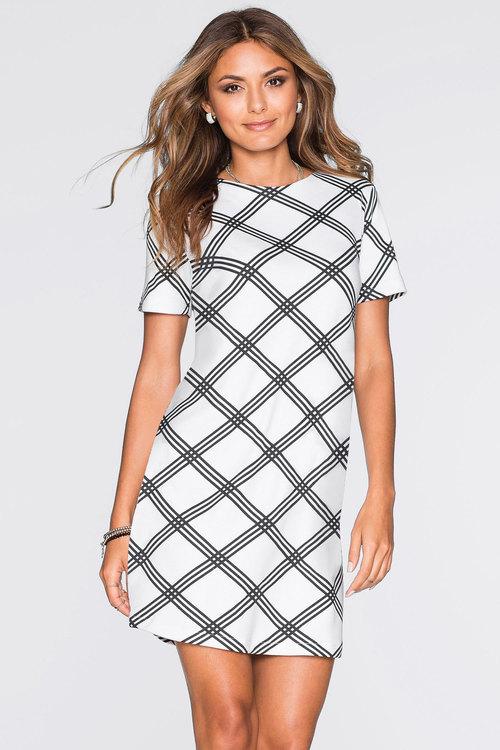 Urban Grid Print Dress