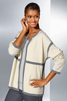 Capture European Contrast Panel Cardigan