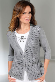 Capture European Eyelet Knit Front Cardigan