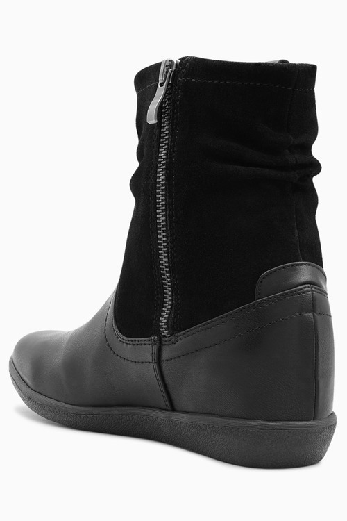 Next Black Mix Material Pull-On Boots