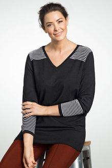 Plus Size - Sara Contrast Rib Sweater