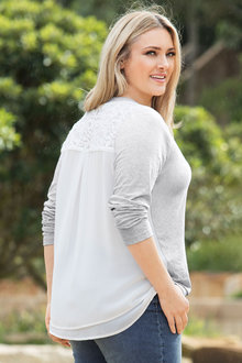 Plus Size - Sara Two for Lace Trim Top