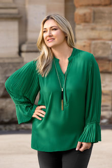 Plus Size - Sara Pleated Sleeve Blouse
