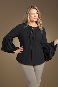 Plus Size - Sara Pleat Sleeve Blouse