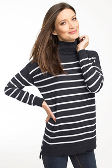 Capture Merino Stripe Roll Neck Knit