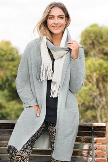 Plus Size - Longline Hooded Cardigan