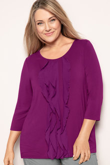 Plus Size - Sara Ruffle Knit Top - 171315