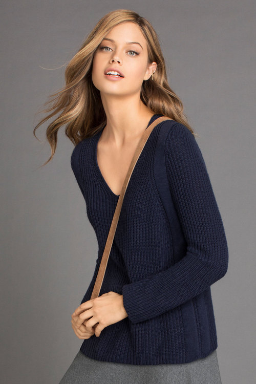 Emerge Ribbed V Neck Jumper