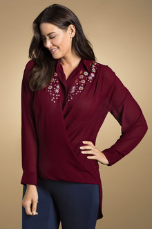 Sara Embroidered Wrap Blouse - 171373