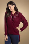 Plus Size - Sara Embroidered Wrap Blouse