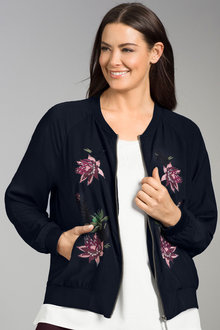 Plus Size - Sara Embroidered Bomber