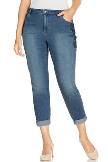 Plus Size - Embroidered Straight Leg Jean