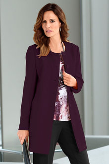 Capture European Collarless Long Blazer