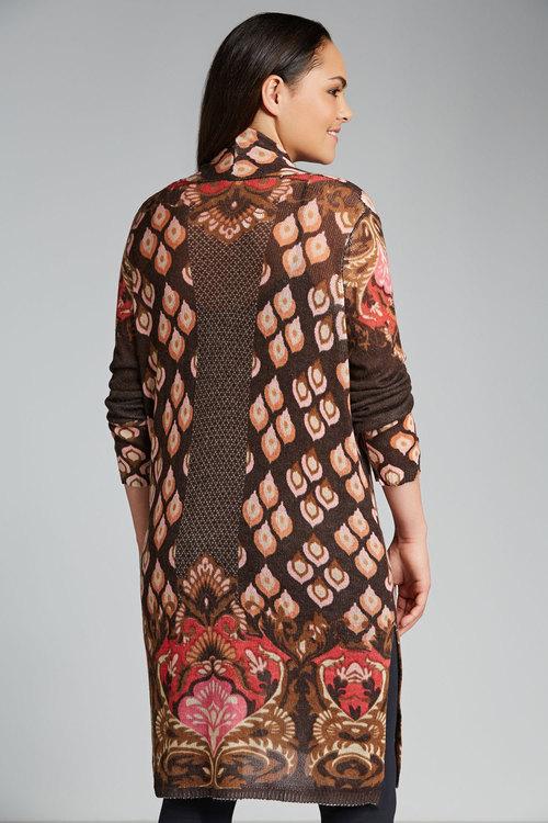 Plus Size - Sara Printed Longline Cardigan