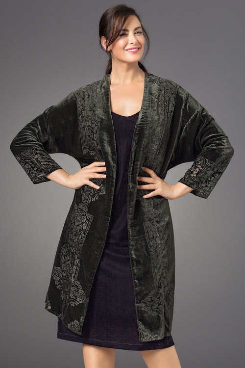 Sara Burnout Velvet Duster Jacket