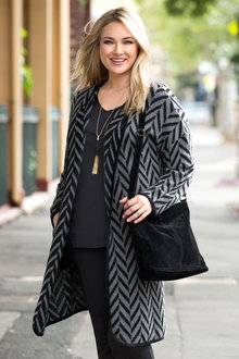 Plus Size - Sara Chevron Coatigan