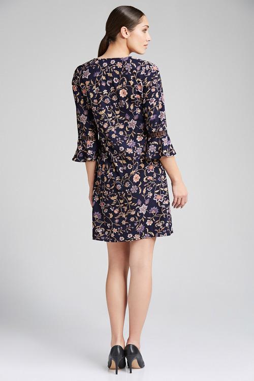 Emerge Printed Tie Neck Dress