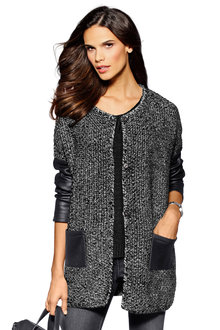 Euro Edit Contrast Sleeve Cardigan