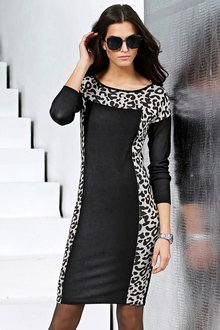 Capture European Animal Print Knit Dress