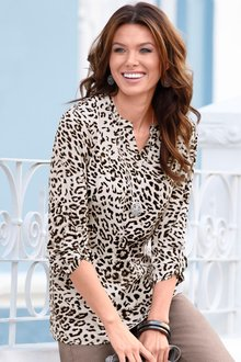 Capture European Animal Print Notch Neck Blouse
