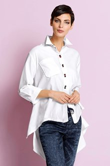 Capture European Drop Hem Cotton Shirt