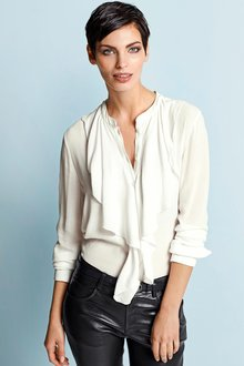 Capture European Neck Tie Draped Shirt