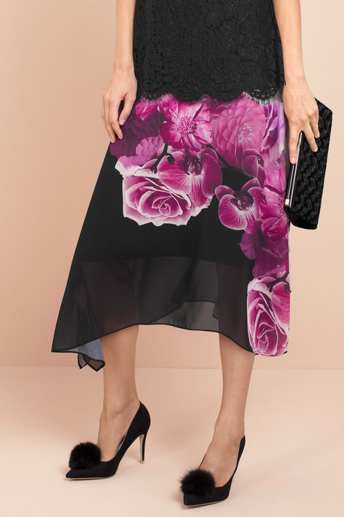 Capture Chiffon Handkerchief Hem Skirt