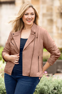 Plus Size - Sara Leather Biker Jacket