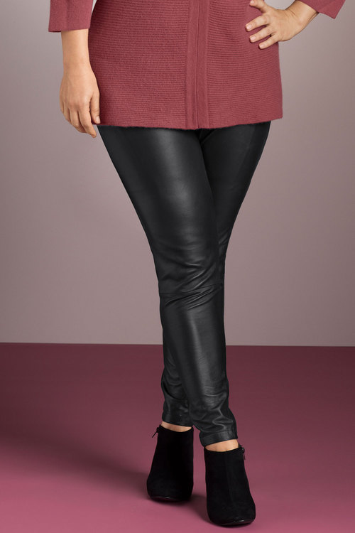 Plus Size - Sara Leather Front Pant