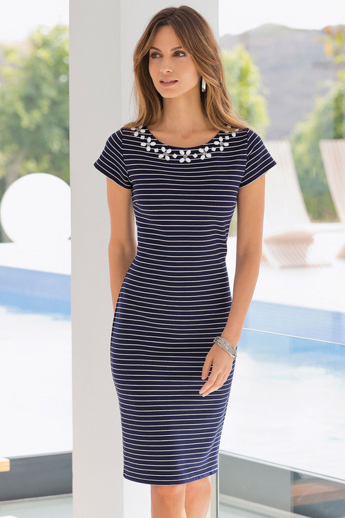 European Collection Beaded Stripe Dress