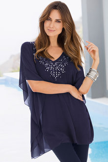 European Collection Embellished Kimono Top