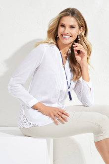 European Collection Pintuck Lace Shirt - 172028