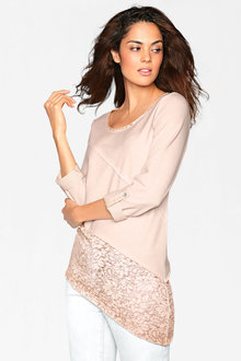 Heine Assymetric Lace Hem Top