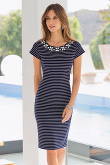 Plus Size - Together Woman Stripe Beaded Neckline Dress