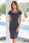 Together Woman Stripe Beaded Neckline Dress