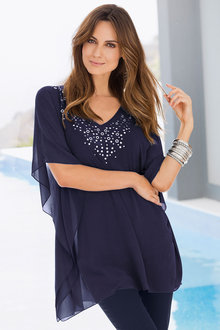 Plus Size - Together Woman Embroidered Neckline Kaftan