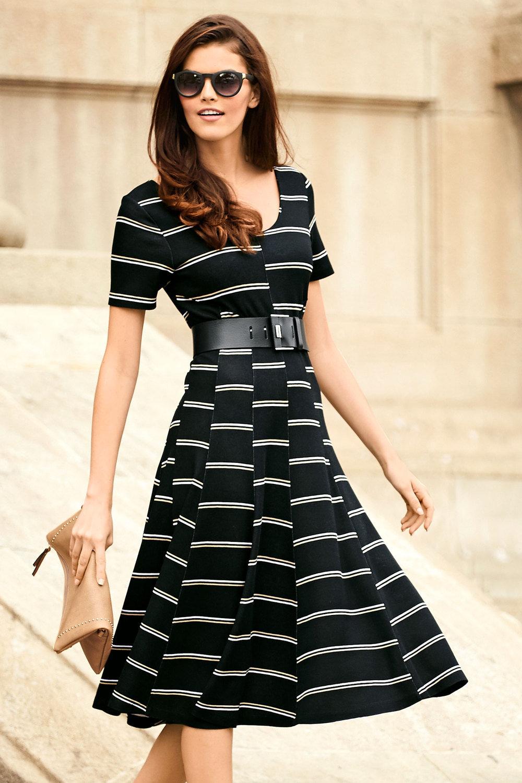 b987957f67 Heine Fit   Flare Striped Dress Online