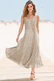 Together Sleeveless Crinkled Lace Dress