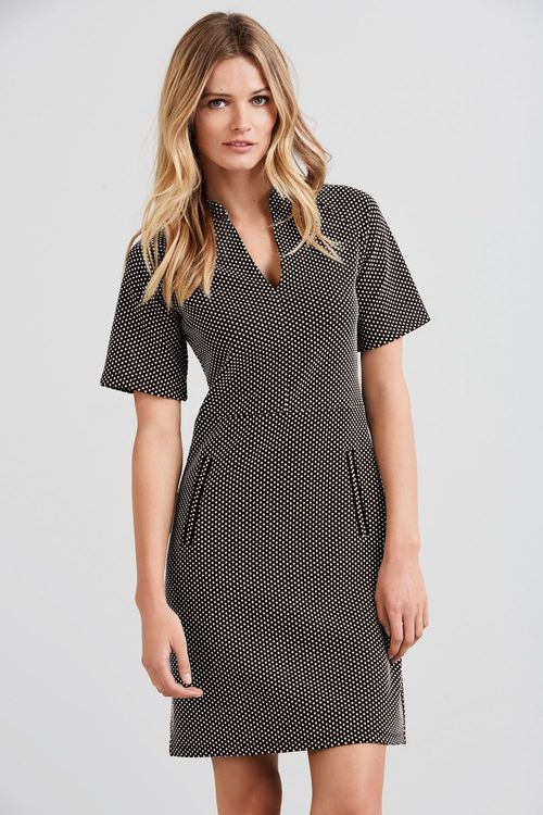 Next Monochrome Spot Jacquard Dress