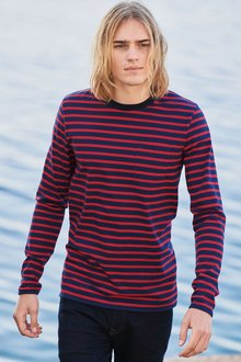 Next Navy/Red Long Sleeve Striped T-Shirt