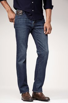 Next Mid Blue Jeans With Leather Detail