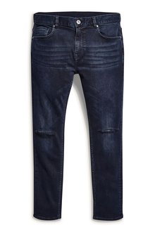 Next Dark Blue Ripped Knee Jeans With Stretch