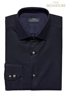 Next Navy Signature Spot Texture Shirt - Regular Fit Single Cuff