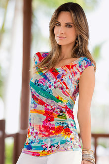 Together Printed Gather Top