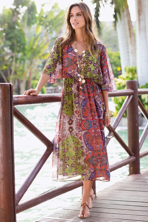European Collection Printed Midi Dress